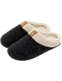 Men's Cozy Memory Foam Slippers with Fuzzy Plush Wool-Like Lining, Slip on Clog House Shoes with Indoor Outdoor Anti-Skid Rubber Sole