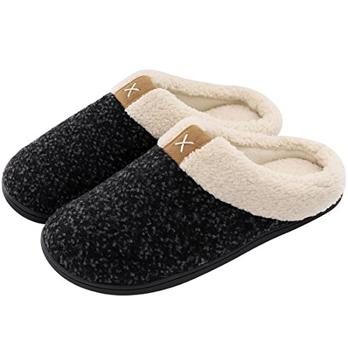 Men's Comfort Memory Foam Slippers Wool-Like Plush Fleece Lined House Shoes w/Indoor, Outdoor Anti-Skid Rubber Sole (X-Large / 13-14 D(M) US, Space Black) by ULTRAIDEAS