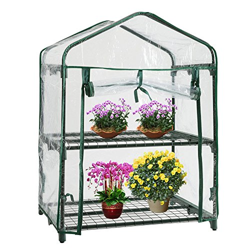- Leiyini Greenhouse 2 Tier Mini Walk-In Plant Greenhouse Garden Cover (Without Iron Frame)