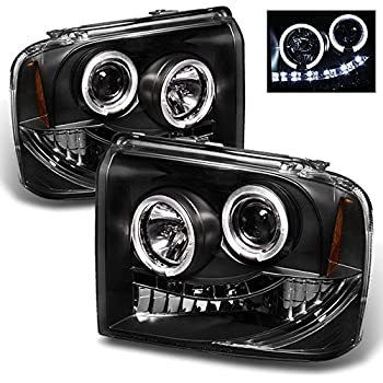 For Ford F F F Excursion Black Bezel Dual Halo Ring Led Projector Headlights Pair