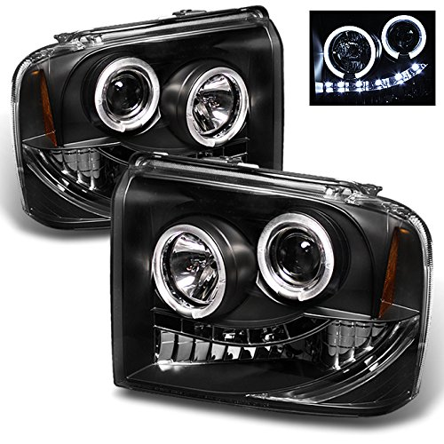 Ford F250/F350/F450 SuperDuty 05 Excursion Black Bezel Dual Halo Ring LED Projector Headlights Pair