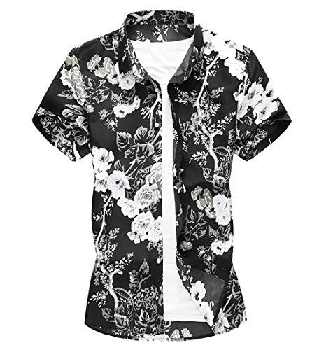 0b41a47b481b25 Men Hawaiian Shirt-Short Sleeve Button Down Hawaiian Aloha T-Shirt Front  Pocket Beach
