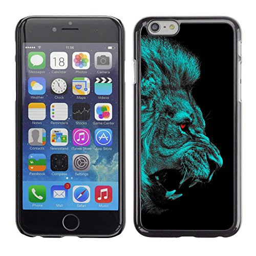 TopCaseStore / caoutchouc Hard Case Housse de protection la Peau - Lion Angry Red Eyes Vampire Animal Cat Jungle - Apple iPhone 6 Plus 5.5
