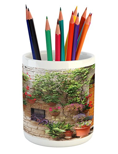 Lunarable Tuscan Pencil Pen Holder, Begonia Blossoms in Box Window Wooden Shutters Brick Wall Romagna Italy, Printed Ceramic Pencil Pen Holder for Desk Office Accessory, Orange White Green