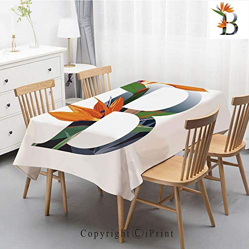 Pure Linen Plain Tablecloth Athena,Natural Rectangular Table Cloth for Indoor and Outdoor Use,Natural Tablecloth,55x70 Inch,Letter B,Letter B with Bird of Paradise Flower Alphabet Character Font ()