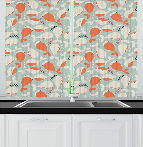 Underwater Kitchen Curtains by Ambesonne, Ocean Animal Cute Whales Swimming Pattern Marine Life Illustration, Window Drapes 2 Panels Set for Kitchen Cafe, 55 W X 39 L Inches, Salmon Coconut - Images Water Coconut