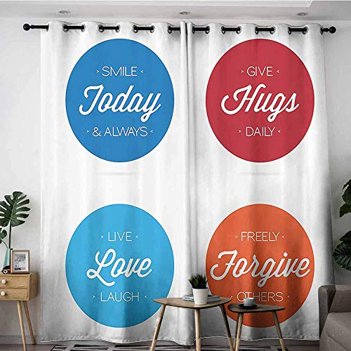 - VIVIDX Window Curtain Panel,Quotes Decor Collection Collection of Positive Quotes on Badges Encouraging Live Love Laugh Smile Image,Grommet Curtains for Bedroom,W120x96L,Blue Orange White