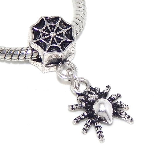 Pro Jewelry Spider & Web Dangle Halloween Bead Compatible with European Snake Chain Bracelets