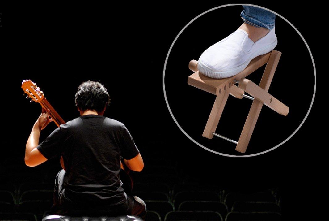 Rayzm sgabello poggiapiedi in legno per chitarra poggia piede
