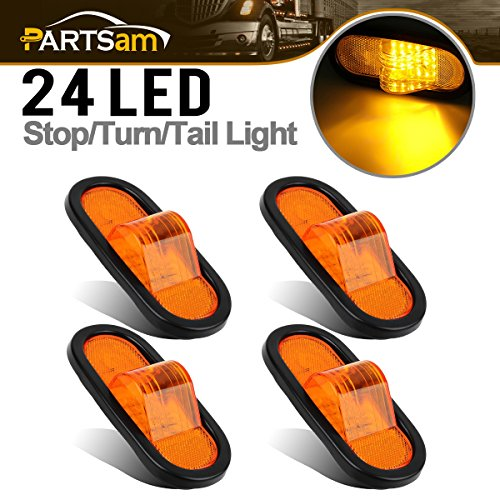 Partsam 4pcs 6″ Mid Turn Signal Amber Marker Light Rubber Mount 24 LED w/reflector Universal
