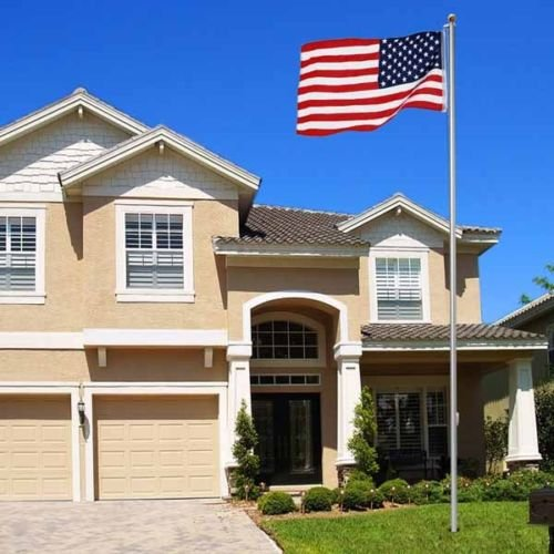 New 25Ft Aluminum Sectional Flagpole Kit Outdoor Halyard Pole + 1PC US American Flag For Prosperous Great
