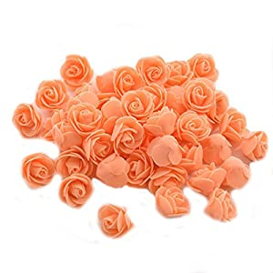 Ewandastore 100 Pcs 1.2 Inch Fake Rose Heads Real Looking Artificial Roses Flowers Heads for Wedding Bouquets Centerpieces Party Baby Shower Home DIY Decorations(Orange) 5
