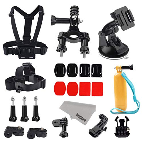 Kupton Action Camera Accessories Bundle for GoPro Hero 8/7/ 6/5/ 4/3, Head Strap + Chest Harness + Suction Cup Mount + Bike Mount + Floating Grip Bundle Set for Xiaomi AKASO Apeman SJ4000 DBPOWER