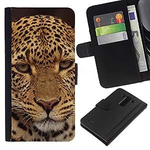 All Phone Most Case / Oferta Especial Cáscara Funda de cuero Monedero Cubierta de proteccion Caso / Wallet Case for LG G3 // Leopard Disappointed Furry Animal Wild