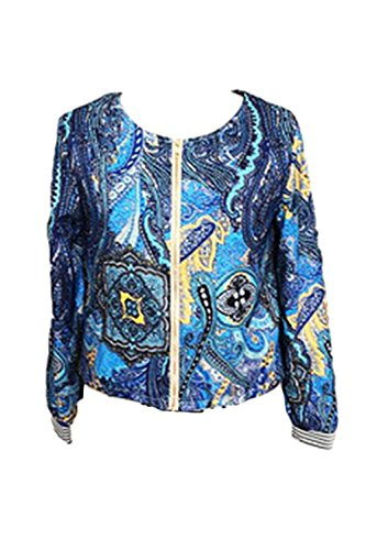 Giacche Manica Le Donne Floreali Zip Lunga Quotidianamente Giacca Nimpansa 4color Blu U8Epqaw