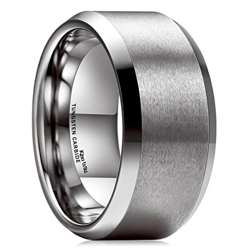 King Will BASIC 10mm Tungsten Carbide Ring for Men Matte Polished Finish Wedding Engagement Band 9.5