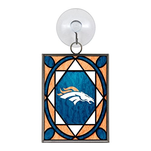 (Denver Broncos Official NFL 2 inch x 3 inch Stained Glass Christmas Ornament by)