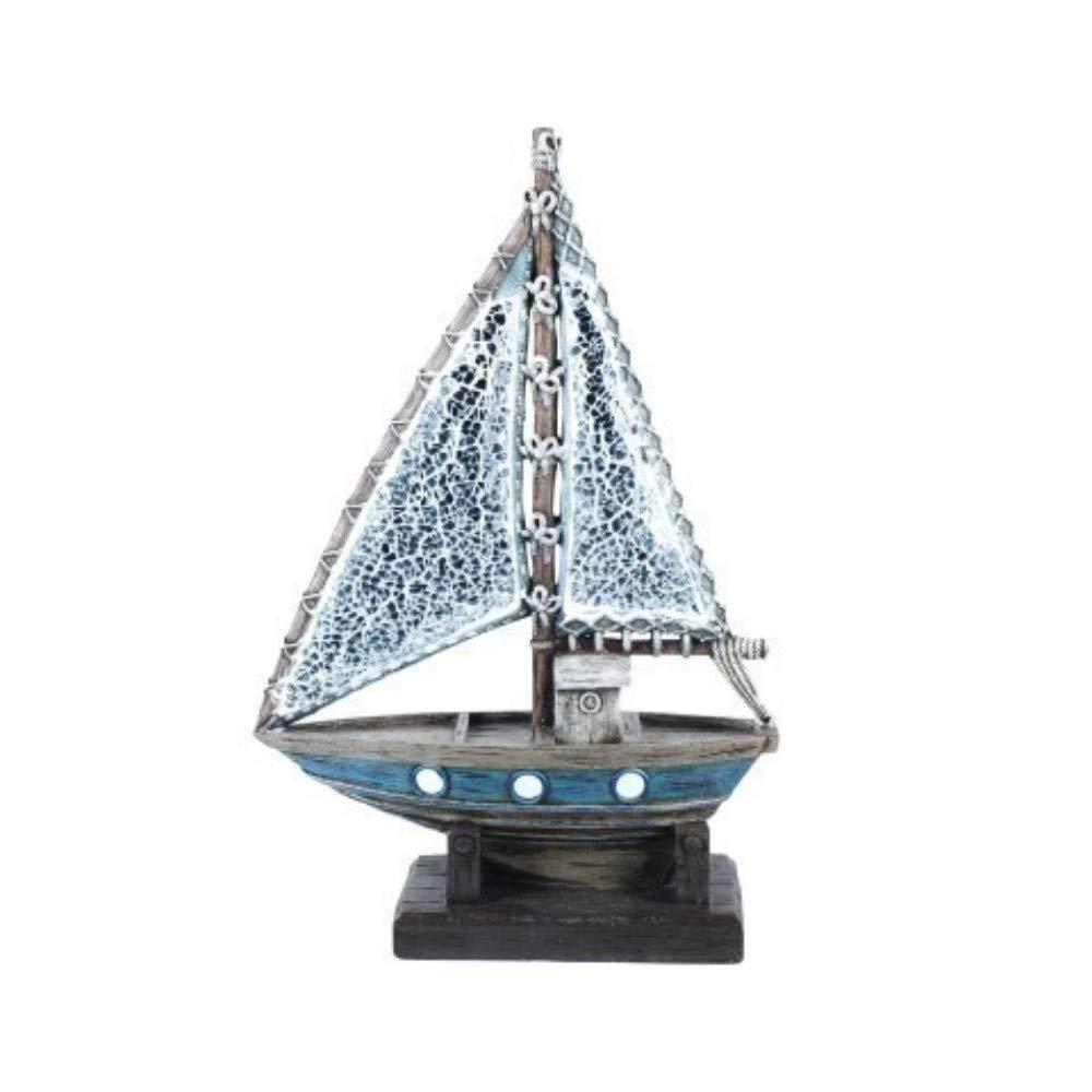 Regalos Originales 32 x 21 x 8 cm. Decoraci/ón Hogar CAPRILO Figura Decorativa de Resina Barco con Vela Adornos y Esculturas