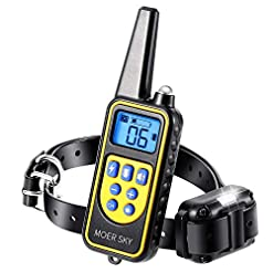 Moer Sky Dog Training Collar 100 Ipx7 Waterproof Rechargeable 875 Yards Remote Dog Shock Collar With Led Lightbeepvibrationshock Modes Dog Bark Collar For Small Medium Large Dogs