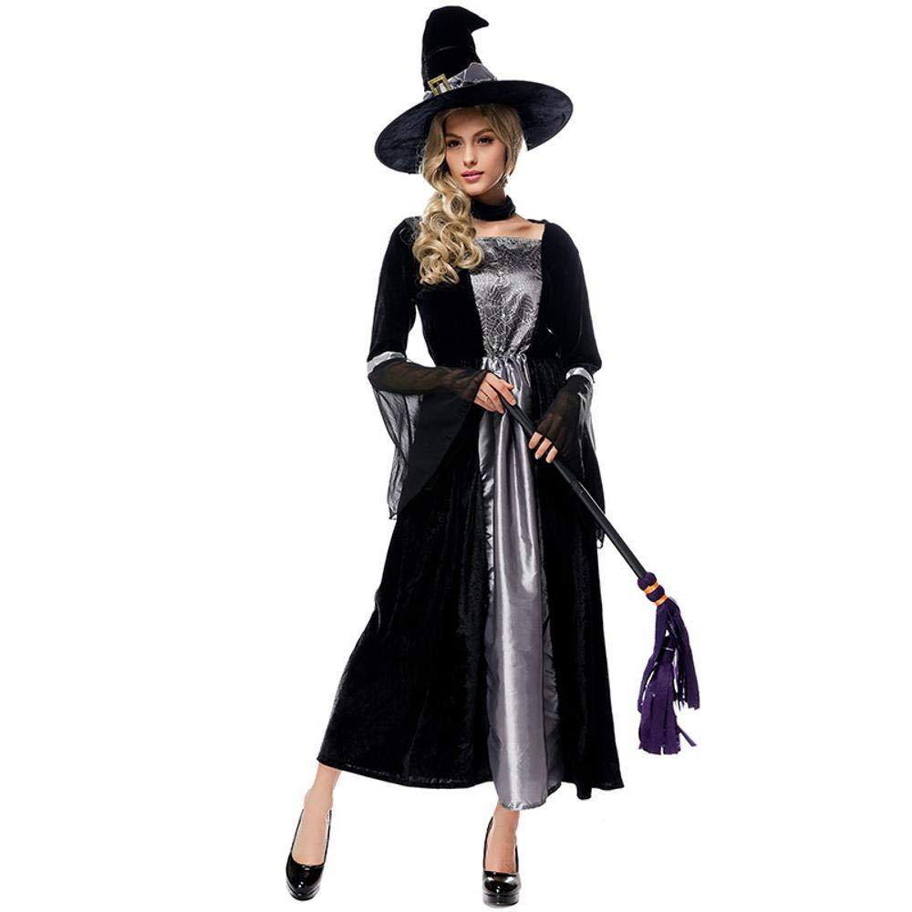 Olydmsky Halloween Costumes Women Halloween Costume Adult Cosplay Witch Black Gauze Maxi Dress