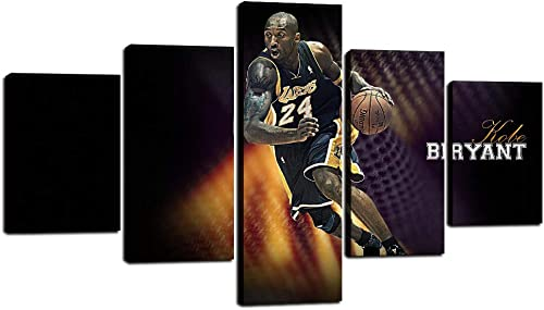 5 Panel Wall Art NBA Basketball Star Poster Kobe Bryant of Los Angeles Lakers Wall Art Painting Portrait Art Canvas Artwork for Living Room Home Decor Stretcher and Frame Ready to Hang 70 W x 40 H