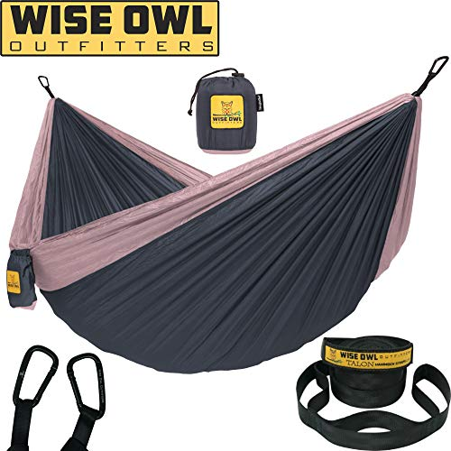 Wise Owl Outfitters Hammock for Camping Single & Double Hammocks Gear for The Outdoors Backpacking Survival or Travel - Portable Lightweight Parachute Nylon SO Charcoal Rose