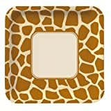 Creative Converting Animal Print Giraffe Square Large Banquet Plates, 8 Count