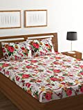 Bombay Dyeing Amber 160 TC Microfibre Double Bedsheet with 2 Pillow Covers - Pink
