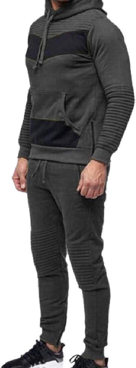 CBTLVSN Mens Spell Color Jogger Pants Hooded Sweatshirts Sweatsuit Rock Set