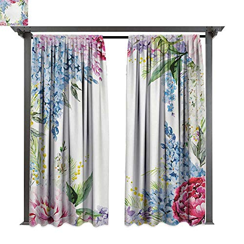 Marina Lea Indoor/Outdoor Single Panel Print Window Curtain, Springtime Fragrance Garland with Bunch of Flowers Lilac Lavender Rose Peony Artsy Print, Keep Warm Draperies (W84 x L108 Inches Multi)