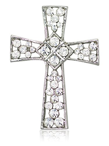 Akianna Swarovski Element Crystals Celtic Cross Pin Brooch Silver-tone Clear -