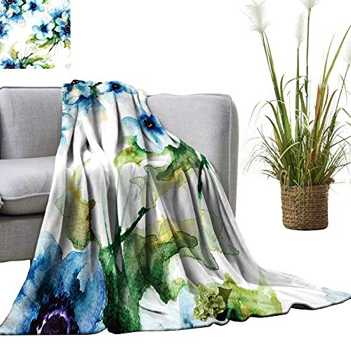 (YOYI Warm Blanket Seamless Wallpaper with Summer Blue Flowers,Watercolor Winter Lightweight Thermal Blankets for Couch Bed Sofa 60