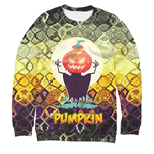 KLFGJ Halloween Shirt Mens Casual Scary 3D Printed Long Sleeve Round Neck Blouse Top Oneck Streetwear Yellow]()