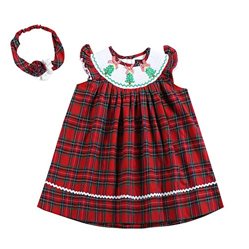 32129030091 Red and Green Plaid Christmas Tree Smocked Angel Sleeve Dress & Matching Headband (Dresses And Green Christmas Red)