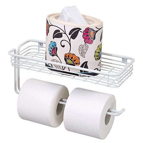 mDesign Toilet Tissue Paper Holder and Multi-Purpose Shelf - Wall Mount Storage Organizer for Bathroom, Holds 2 Mega Rolls - Durable Metal Wire Design - White