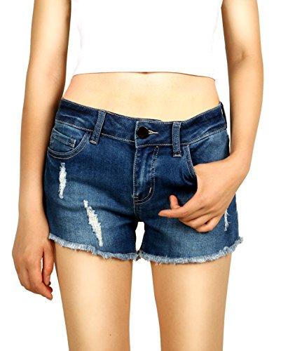 Pohiya Women Juniors Ripped Cutoff Jeans Denim Shorts, Mid-Rise Teen Stretchy Hot Jean Pant