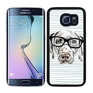 Funda carcasa para Samsung Galaxy S6 Edge Plus perro con gafas borde negro