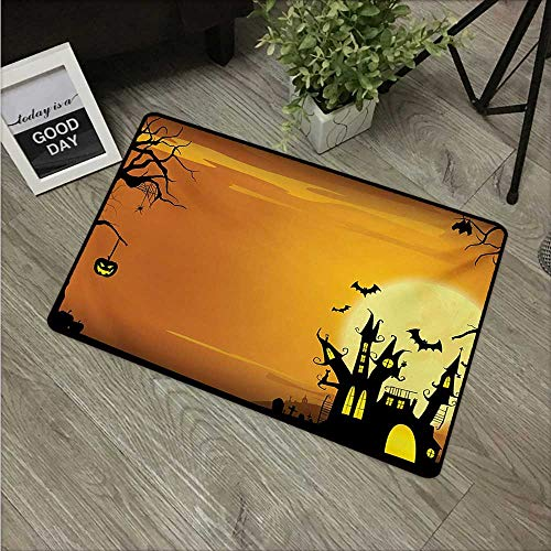 Anzhutwelve Halloween,Entry Rug Gothic Haunted House Bats Western Spooky Night Scene with Pumpkin Drawing Art W 24