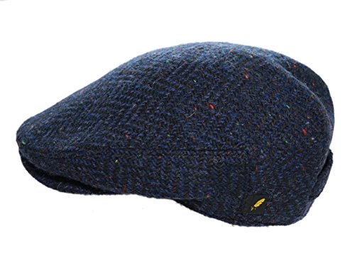 Navy Wool Cap - Biddy Murphy Irish Flat Cap 100% Donegal Tweed Navy Herringbone Medium Made in Ireland