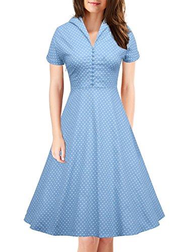 Corte Rockabilly Abbigliamento Casual Donne Maniche Picnic Ilover Classici V074 Oscillare azzurro HaIw0qE