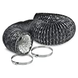 4'' Air Duct - 8 FT Long, Black Flexible Ducting with 2 Clamps, 4 Layer HVAC Ventilation Air Hose - Great For Grow Tents, Dryer Rooms, House Vent Register Lines