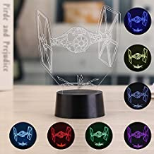 3D Illusion Night Light, niceEshop(TM) 7 Colors Changing Table Desk Decorative Lamp for Bedroom/Children Room/Office, Toys and Gifts for Kids/birthday/Christmas, Star Wars Titanium Fighter