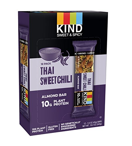 KIND Sweet and Spicy Bars, Thai Sweet Chili, Gluten Free, 10g Plant Protein, 1.6oz, 12 Count