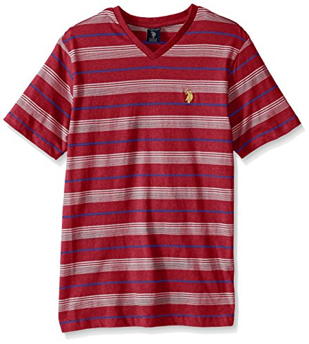 U.S. Polo Assn. Men's Big-Tall Multi Color Shadow Striped V-Neck T-Shirt, Red Heather, 3X-Large/Tall Multi Color Striped T-shirt