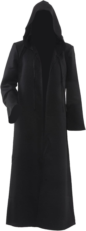 Allten Men's Costume Halloween Black Tunic Hooded Robe Cloak