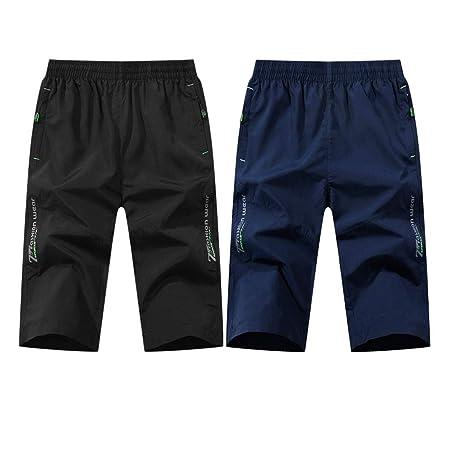 2 unids Pantalones Cortos de Verano de los Hombres Sueltos ...