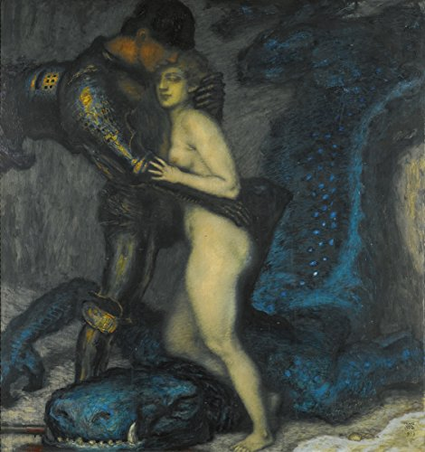 Dragon Slayer Poster - Franz Stuck - The Dragon Slayer, Size 24x26 inch, Gallery Wrapped Canvas Art Print Wall décor