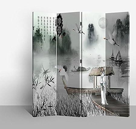 Fine Asianliving Divisor de habitación-Tabiques-Mampara de ducha-Puertas corredizas-separadores de espacios-Separador de ambientes madera-Paneles separadores-Tabique decorativo para habitaciones-129: Amazon.es: Hogar