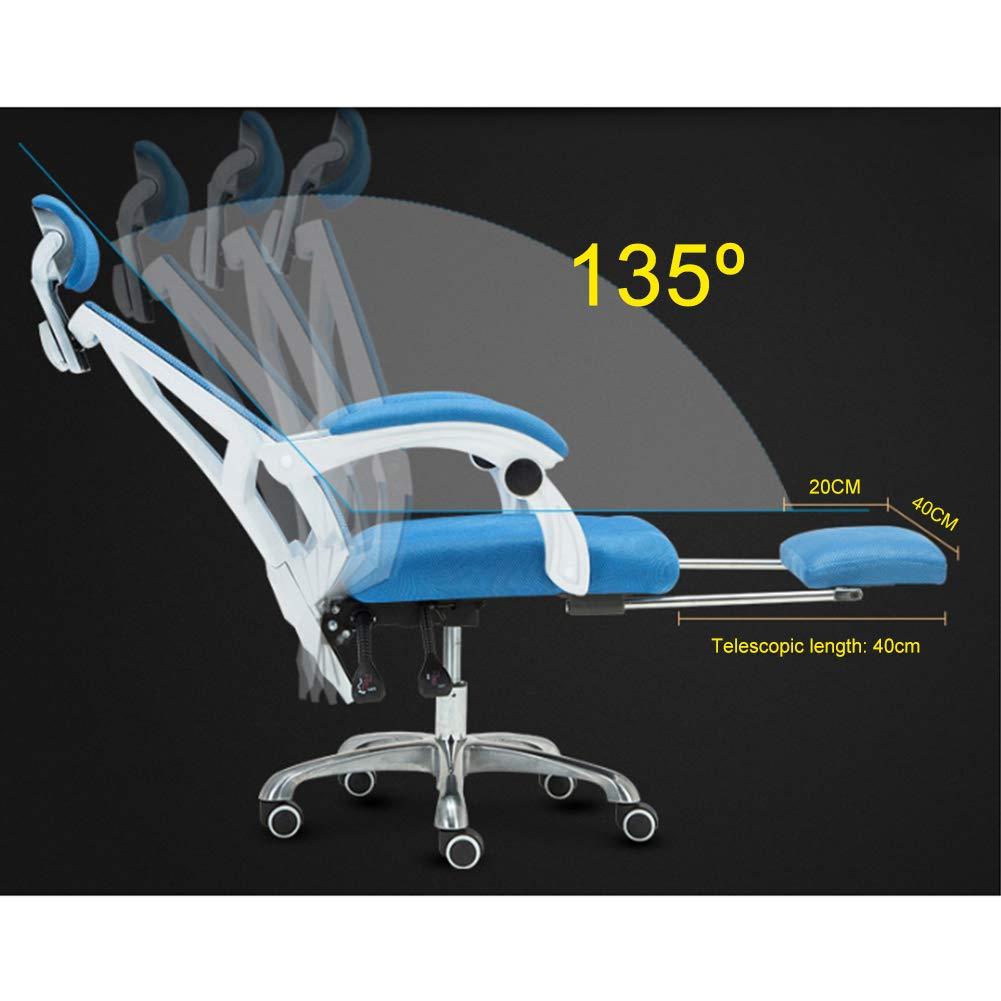 HongYu spelstol svängbar ergonomisk kontorsstol med infällbart fotstöd, multifunktionellt nackstöd, stöd för ryggstöd 6 4