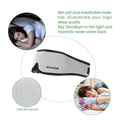 Sleep Mask, HOMMINI Silk Eye Mask 3D Breathable Memory Foam Contoured Modular Best Travel Sleeping mask,Blocks Out All Light with Adjustable Anti-Slip Gel/Ear Plugs/Travel Pouch for Men Women Kids by HOMMINI (Image #3)